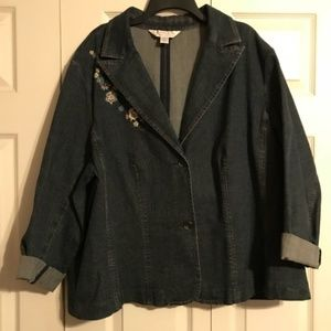 CASUAL CORNER 3X Stretch Jean Jacket Embroidered